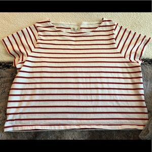 Madewell White and Red Striped Short Sleeve Top